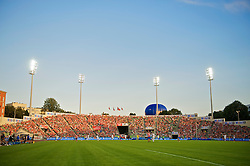 OSLO, NORWAY - Wednesday, August 5, 2009: A hot air balloon begins to rise above the Liverpool supporters' stand during a preseason match against FC Lyn Oslo at the Bislett Stadion. (Pic by David Rawcliffe/Propaganda)