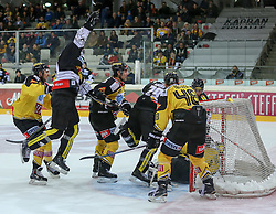 30.01.2015, Albert Schultz Eishalle, Wien, AUT, EBEL, UPC Vienna Capitals vs Dornbirner Eishockey Club, 43. Runde, im Bild Guillaume Desbiens (Dornbirner Eishockey Club) , Luciano Aquino (Dornbirner Eishockey Club) , Florian Iberer (UPC Vienna Capitals) und Matt Zaba (UPC Vienna Capitals) // during the Erste Bank Icehockey League 43th round match between UPC Vienna Capitals and Dornbirner Eishockey Club at the Albert Schultz Ice Arena in Vienna, Austria on 2015/01/30. EXPA Pictures © 2015, PhotoCredit: EXPA/ Alexander Forst