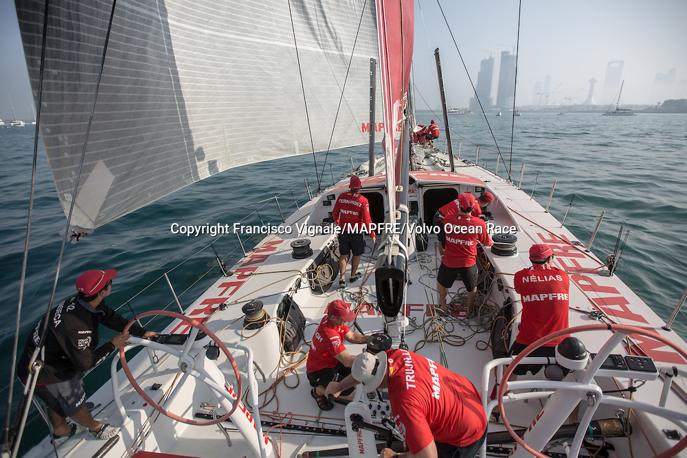 January 3, 2015. The Start of Leg 3 onboard MAPFRE; The crew push hard to find the wind to keep with the fleet.