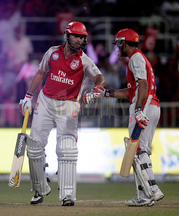 DURBAN, SOUTH AFRICA - 1 May 2009. Yuvraj Singh and Karan Goel during the IPL Season 2 match between Kings X1 Punjab and the Royal Challengers Bangalore held at Sahara Stadium Kingsmead, Durban, South Africa...