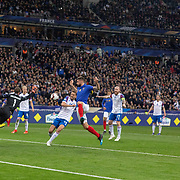 PARIS, FRANCE - March 25:  Olivier Giroud #9 of France scores his sides second goal as Goalkeeper Hannes Por Halldorsson #1 of Iceland fails to cut out the cross during the France V Iceland, 2020 European Championship Qualifying, Group Stage at  Stade de France on March 25th 2019 in Paris, France (Photo by Tim Clayton/Corbis via Getty Images)