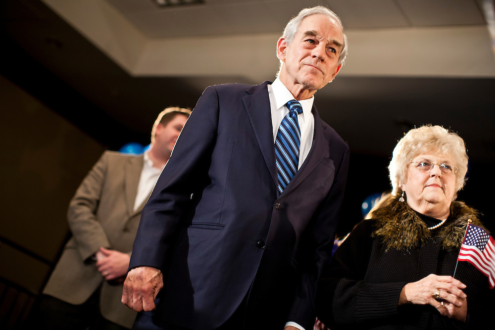 Republican presidential candidate Ron Paul and his mother at a caucus night rally on Tuesday, January 3, 2012 in Ankeny, IA.