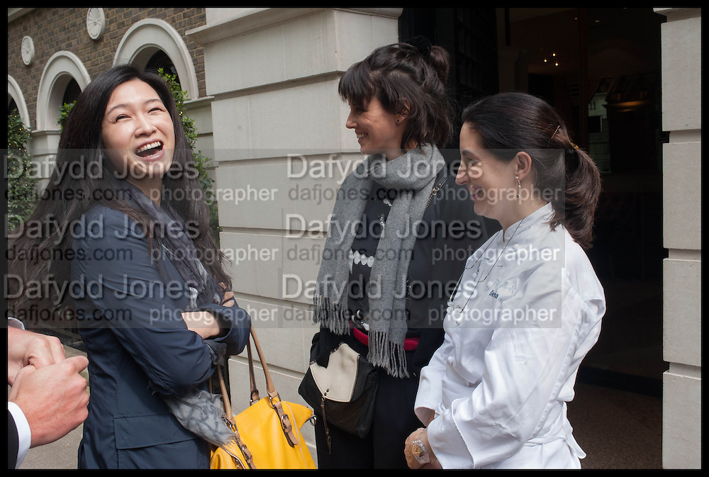 LANSHU CHEN; HELENA RIZZO; ELENA ARZAK; , Veuve Clicquot World's Best Female chef champagne tea party. Halkin Hotel. Halkin St. London SW1. 28 April 2014.