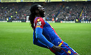 Emmanuel Adebayor celebrates his goal during the Barclays Premier League match between Crystal Palace and Watford at Selhurst Park, London, England on 13 February 2016. Photo by Michael Hulf.