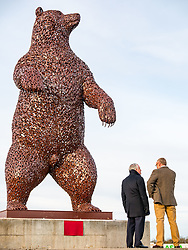 Dunbar, East Lothian, Scotland, United Kingdom, 19 November 2019. Andy Scott statue unveiling: Unveiling today of a 5m high bear sculpture to celebrate the life of naturalist John Muir. The sculpture by the Kelpies creator Andy Scott marks Dunbar-born John Muir who played a key role in the development of national parks in the US. Pictured`: Andy Scott (sculptor).<br /> Sally Anderson | EdinburghElitemedia.co.uk