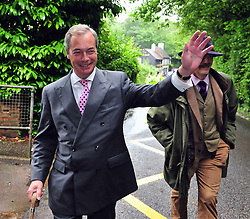 © Licensed to London News Pictures. 23/06/2016<br /> EU REFERENDUM POLLING DAY.  <br /> NIGEL FARAGE  Walking to the polling station.<br /> <br /> Nigel Farage  UKIP Leader VOTING this morning <br /> (23.6.2016) at Cudham Primary School,Biggin Hill,Kent.<br /> <br /> <br /> <br /> (Byline:Grant Falvey/LNP)