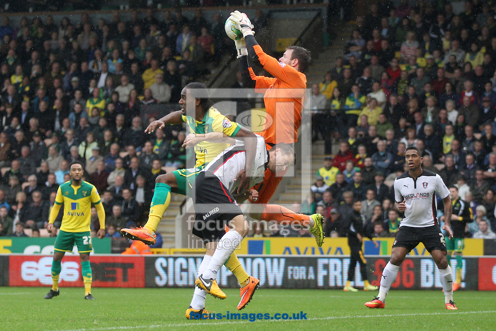 Adam Collin of Rotherham United collects the ball safely ahead of Cameron Jerome of Norwich during the Sky Bet Championship match at Carrow Road, Norwich<br /> Picture by Paul Chesterton/Focus Images Ltd +44 7904 640267<br /> 04/10/2014