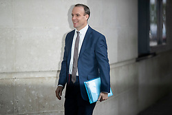 © Licensed to London News Pictures. 17/11/2019. London, UK. Foreign Secretary Dominic Raab arrives at the BBC. Later he will appear on the Andrew Marr Show. Photo credit: George Cracknell Wright/LNP