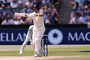 Joe Root plays a hook shot during the Magellan fourth test match between Australia v England at  the Melbourne Cricket Ground, Melbourne, Australia on 26 December 2017. Photo by Mark  Witte.