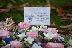 © Licensed to London News Pictures . 30/10/2018. Accrington , UK . Tributes and flowers left outside the crematorium , during the service . The funeral of Gemma Nuttall at Accrington Crematorium . Gemma died of cancer despite initially seeing off the disease after radical immunotherapy treatment in Germany , paid for with the fundraising support of actress Kate Winslet , who read of Gemma's plight on a crowdfunding website shortly after she lost her own mother to cancer . Permission to photograph given by Gemma's mother , Helen Sproates . Photo credit : Joel Goodman/LNP