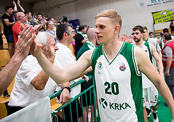Maj Kovacevic of Krka after the basketball match between KK Krka Novo mesto and  KK Petrol Olimpija in 4th Final game of Liga Nova KBM za prvaka 2017/18, on May 27, 2018 in Sports hall Leona Stuklja, Novo mesto, Slovenia. Photo by Vid Ponikvar / Sportida
