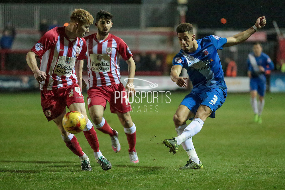 Jake Carroll (Hartlepool United) takes a shot during the Sky Bet League 2 match between Accrington Stanley and Hartlepool United at the Fraser Eagle Stadium, Accrington, England on 19 January 2016. Photo by Mark P Doherty.