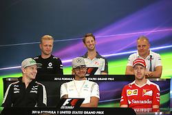 October 20, 2016 - Austin, United States of America - Motorsports: FIA Formula One World Championship 2016, Grand Prix of United States, .#27 Nico Hulkenberg (GER, Sahara Force India F1 Team), #44 Lewis Hamilton (GBR, Mercedes AMG Petronas Formula One Team), #5 Sebastian Vettel (GER, Scuderia Ferrari), #20 Kevin Magnussen (DEN, Renault Sport Formula 1 Team), #8 Romain Grosjean (FRA, Haas F1 Team), #77 Valtteri Bottas (FIN, Williams Martini Racing) (Credit Image: © Hoch Zwei via ZUMA Wire)