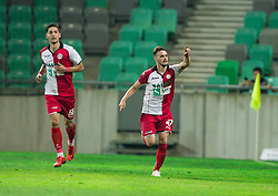Francesco Tahiraj of NK Aluminij celebrates after he scored first goal for Aluminij during football match between NK Aluminij and NK Olimpija Ljubljana in the Final of Slovenian Football Cup 2017/18, on May 30, 2018 in SRC Stozice, Ljubljana, Slovenia. Photo by Vid Ponikvar / Sportida