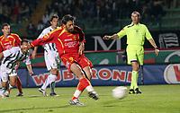 "Cristian Riganò segna il gol su rigore<br /> Cristian Riganò shoots and scores the penalty kick<br /> Italian ""Serie A"" 2006-07<br /> 14 Oct 2006 (match day 6)<br /> Siena-Messina (3-1)<br /> ""A.Franchi"" Stadium-Siena-Italy<br /> Photographer Luca Pagliaricci INSIDE"