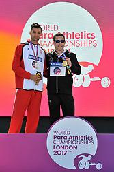 17/07/2017 : Jason Smyth (IRL), Gold Medal, Matheus Michalski (POL), Silver Medal, T13, Men's 100m, at the 2017 World Para Athletics Championships, Olympic Stadium, London, United Kingdom
