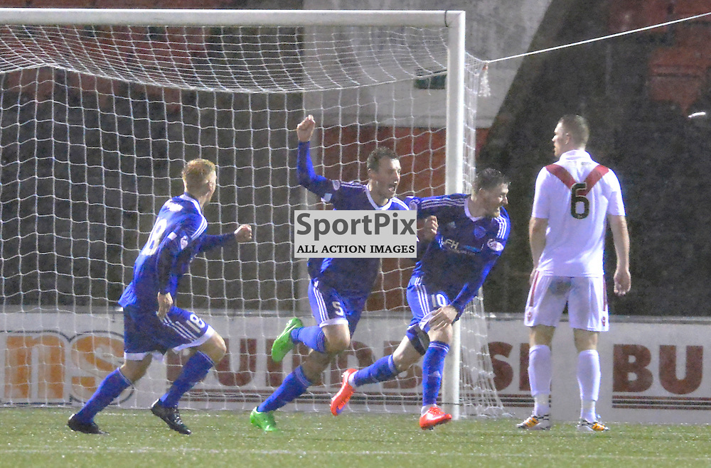 Peterhead players celebrate last gasp goal to earn a 3-3 draw at Airdrie.....(c) BILLY WHITE | SportPix.org.uk