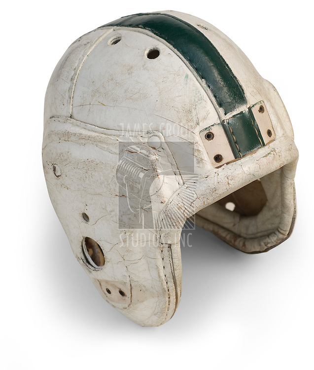 Antique leather football helmet from the 30s & 40's isolated on a white background with a clipping path