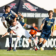 09 September 2018:  San Diego State Aztecs midfielder Keegan Kelly (10) battles UC Irvine defender Jose Soto (4) for a loose ball in the first half. The San Diego State men's soccer team beat UC Irvine in overtime 2-1 Sunday afternoon at the SDSU Sports Deck.