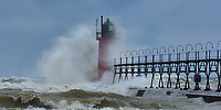Summer Storm Sends Waves Crashing Into the South Haven Lighthouse