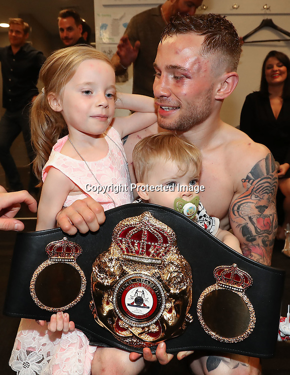 WBA featherweight Title Contest, Barclays Centre, Brooklyn, NY, USA 30/7/2016<br />Carl Frampton pictured with his children Carla and Rossa after defeating Leo Santa Cruz<br />Mandatory Credit &copy;INPHO/Presseye/William Cherry