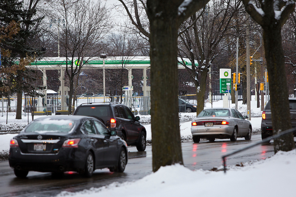 MILWAUKEE, WI – DECEMBER 16: A view across Sherman Boulevard of the decommissioned BP gas station on the corner of Sherman and Burleigh. The gas station was one target of riots and protests following the shooting of Sylville Smith in August.