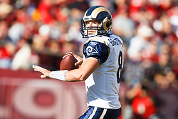 November 14, 2010; San Francisco, CA, USA;  St. Louis Rams quarterback Sam Bradford (8) drops back to pass against the San Francisco 49ers during the first quarter at Candlestick Park.