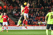 Brighton central midfielder, Beram Kayal (7) and Bristol City midfielder, Marlon Pack (21) challenge for the ball during the Sky Bet Championship match between Bristol City and Brighton and Hove Albion at Ashton Gate, Bristol, England on 23 February 2016. Photo by Shane Healey.