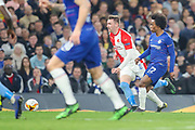 Slavia Prague midfielder Jaromir Zmrhal (8) and Chelsea midfielder Willian (22) make a run for the ball during the Europa League  quarter-final, leg 2 of 2 match between Chelsea and Slavia Prague at Stamford Bridge, London, England on 18 April 2019.