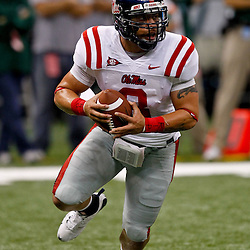 Sep 11, 2010; New Orleans, LA, USA; Mississippi Rebels quarterback Jeremiah Masoli (8) scrambles with the football during a game against the Tulane Green Wave at the Louisiana Superdome. The Mississippi Rebels defeated the Tulane Green Wave 27-13.  Mandatory Credit: Derick E. Hingle