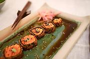 Hat Chawaeng. Betelnut restaurant, Californiathai fusion cuisine. Sesame crusted salmon katsu with wasabi aioli.