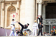 Taekwondo athletes from Korea perform for Pope Francis during the general audience in Saint Peter's square at the Vatican, May 30, 2018