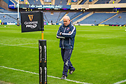 Edinburgh Rugby head coach, Richard Cockerill is deep in thought on the pitch before the 1872 Cup second leg Guinness Pro14 2019_20 match between Edinburgh Rugby and Glasgow Warriors at BT Murrayfield Stadium, Edinburgh, Scotland on 28 December 2019.