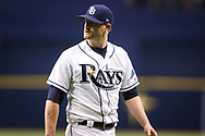 September 16, 2017 - St. Petersburg, Florida, U.S. - WILL VRAGOVIC   |   Times.Tampa Bay Rays starting pitcher Alex Cobb (53) upset after being pulled from the game in the sixth inning of the game between the Boston Red Sox and the Tampa Bay Rays at Tropicana Field in St. Petersburg, Fla. on Saturday, Sept. 16, 2017. (Credit Image: © Will Vragovic/Tampa Bay Times via ZUMA Wire)