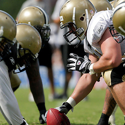 04 August 2009: Saints players line up for a team drill during New Orleans Saints training camp at the team's practice facility in Metairie, Louisiana.