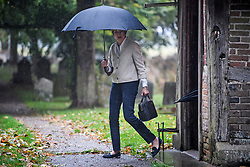 © Licensed to London News Pictures. 22/09/2018. Prime Minister THERESA MAY is pictured carrying an umbrella as she leaves a church service with her husband Philip, near her constituency. The PM, who will face her party at Conservative Party conference next week, demanded 'respect' from EU leaders after they rejected her Chequers plan at a recent EU summit in Salzburg, Austria. Photo credit: Ben Cawthra/LNP © Licensed to London News Pictures. 23/09/2018. Prime Minister THERESA MAY and her husband PHILIP attend a church service near her constituency. The PM, who will face her party at Conservative Party conference next week, demanded 'respect' from EU leaders after they rejected her Chequers plan at a recent EU summit in Salzburg, Austria. Photo credit: Ben Cawthra/LNP