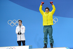 February 14, 2018 - Pyeongchang, South Korea - SCOTTY JAMES of Australia celebrates getting the bronze medal in the Men's Halfpipe snowboard event in the PyeongChang Olympic games. (Credit Image: © Christopher Levy via ZUMA Wire)