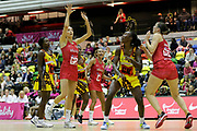 England Women GA Helen Housby shoots during the Netball World Cup 2019 Preparation match between England Women and Uganda at Copper Box Arena, Queen Elizabeth Olympic Park, United Kingdom on 30 November 2018.
