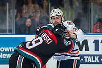 KELOWNA, CANADA - SEPTEMBER 22:  Kobe Mohr #42 of the Kamloops Blazers drops the gloves with Mark Liwiski #9 of the Kelowna Rockets during first period on September 22, 2018 at Prospera Place in Kelowna, British Columbia, Canada.  (Photo by Marissa Baecker/Shoot the Breeze)  *** Local Caption ***