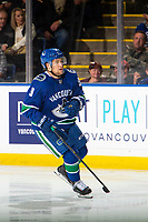 KELOWNA, BC - SEPTEMBER 29: Brendan Leipsic #9 of the Vancouver Canucks skates against the Arizona Coyotes  at Prospera Place on September 29, 2018 in Kelowna, Canada. (Photo by Marissa Baecker/NHLI via Getty Images)  *** Local Caption *** Brendan Leipsic;