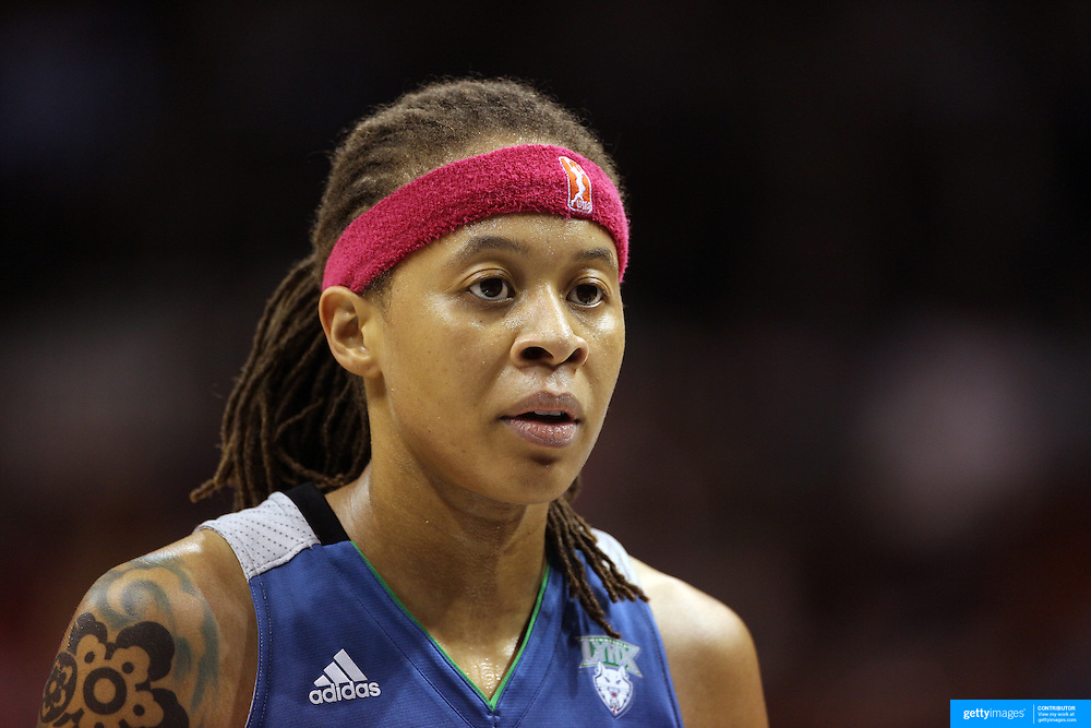 Seimone Augustus, Minnesota Lynx, in action during the Connecticut Sun Vs Minnesota Lynx, WNBA regular season game at Mohegan Sun Arena, Uncasville, Connecticut, USA. 27th July 2014. Photo Tim Clayton