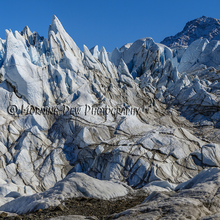 Sharp pinnacles of ice thrust up from the surface of Matanuska Glacier.
