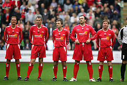 LIVERPOOL, ENGLAND - SUNDAY MARCH 27th 2005: Liverpool Legends players line-up before the Tsunami Soccer Aid match at Anfield. L-R: Phil Thompson, Alan Hansen, Alan Kenndy, Neil Ruddock, Ronnie Whelan. (Pic by David Rawcliffe/Propaganda)