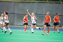 Penn State Nittany Lions Britney Long (11) celebrates after scoring against UVA.  The #10 ranked Virginia Cavaliers fell to the #7 ranked Penn State Nittany Lions 3-1 at the University Hall Turf Field in Charlottesville, VA on August 26, 2007.