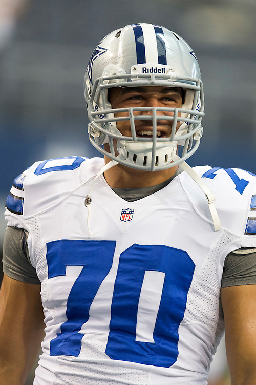ARLINGTON, TX - NOVEMBER 18:  Tyrone Crawford #70 of the Dallas Cowboys smiles during a game against the Cleveland Browns at Cowboys Stadium on November 18, 2012 in Arlington, Texas.  The Cowboys defeated the Browns 23-20.  (Photo by Wesley Hitt/Getty Images) *** Local Caption *** Tyrone Crawford