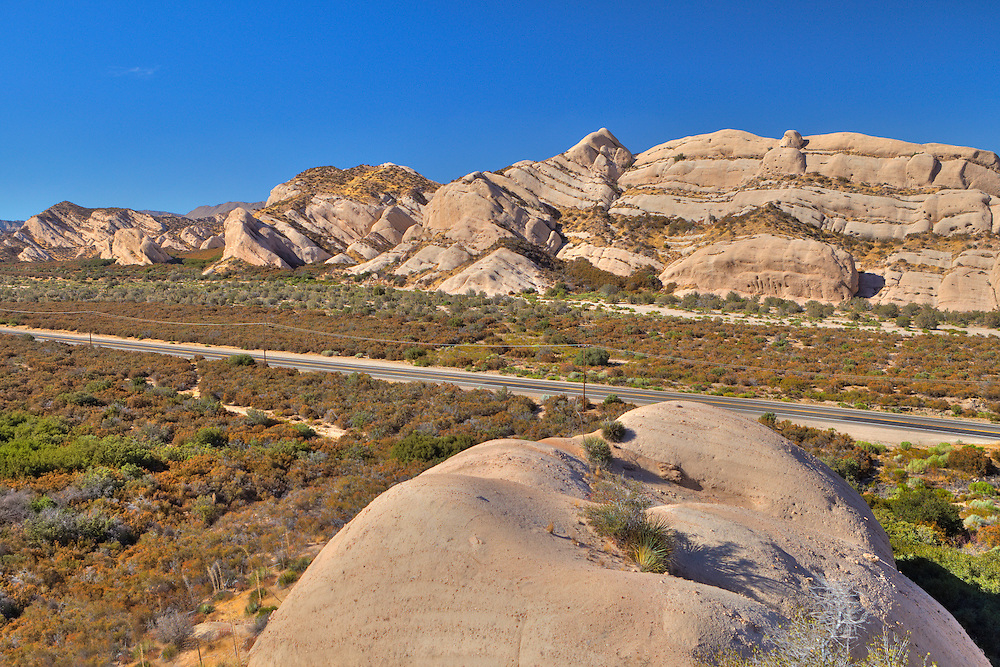 Mormon Rocks And Highway 138 - Elevated Northwest View - HDR