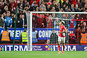 Charlton Athletic forward Lyle Taylor (9) celebrates after scoring a goal from a penalty kick during the EFL Sky Bet League 1 second leg Play-Off match between Charlton Athletic and Doncaster Rovers at The Valley, London, England on 17 May 2019.