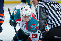 KELOWNA, CANADA - FEBRUARY 24: Dillon Dube #19 of the Kelowna Rockets face off against the Kamloops Blazers  on February 24, 2018 at Prospera Place in Kelowna, British Columbia, Canada.  (Photo by Marissa Baecker/Shoot the Breeze)  *** Local Caption ***