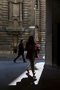 Londoners walk along Lombard Street EC3, on 10th May 2017, in the City of London, England.