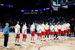 Players of Serbia listening to the National anthem during basketball match between National Teams of Italy and Serbia at Day 14 in Round of 16 of the FIBA EuroBasket 2017 at Sinan Erdem Dome in Istanbul, Turkey on September 13, 2017. Photo by Vid Ponikvar / Sportida